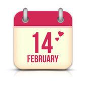 день святого валентина календаря значок с отражением. 14 февраля — Cтоковый вектор
