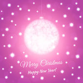 New Year postcard with christmas ball. Pink colored background — Stock Vector