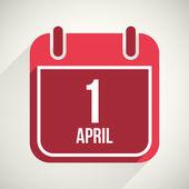 Vector flat calendar apps icon. 1 april fool's day — Stock Vector