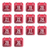 September vector flat calendar icons. Days Of Year Set 24 — Stock Vector