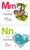 Alphabet with animals. M-N — Stock Vector