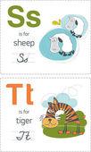 Alphabet with animals. S-T — Stock Vector