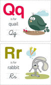 Alphabet with animals. Q-R — Stock Vector