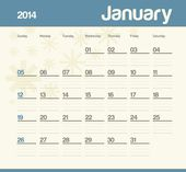 Calendar to schedule monthly. 2014. January. — Stock Vector