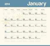 Calendario para programar mensualmente. de 2014. Enero. — Vector de stock
