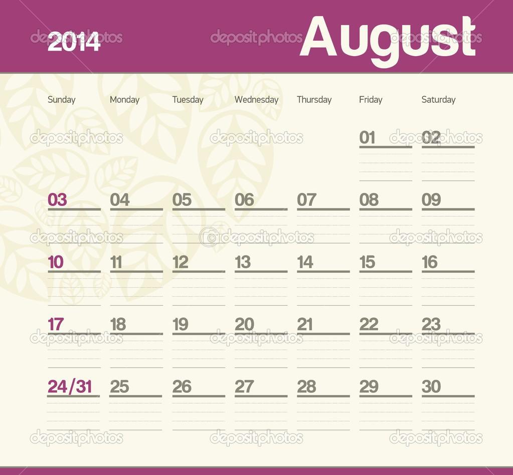 Calendar to schedule monthly. 2014. August. — Stock Vector ...