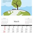 2014 calendar with vector illustration. March. — Image vectorielle