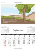 2014 calendar with vector illustration. September. — Stock Vector