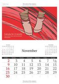 2014 calendar with vector illustration. November. — Stock Vector