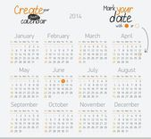 Printable calendar 2014. Easy to edit — Stock Vector