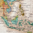 World map of Indonesia and surrounding countries - Stock Photo
