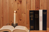 Books and Candle — Stock Photo
