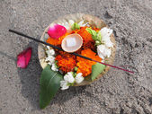 Flowers on the sand — Stock Photo