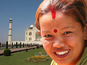 Taj Mahal and young woman — Foto de Stock