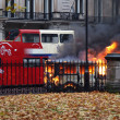 Stock Photo: Burning van