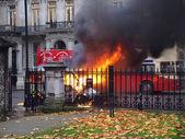 Hořící auto — Stock fotografie