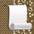 Paper roll on brown background with coffee beans — Stock Vector