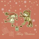 Retro xmas card with children playing — Stock Vector