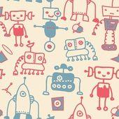 Seamless doodle robots — Stock Vector