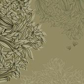 Ossatures pour carte de voeux avec fleurs tendres — Vecteur