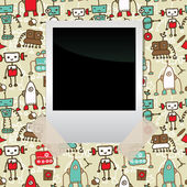 Seamless doodle pattern with colorful robots and blank film — Stock Vector