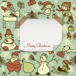 Stock Vector: Christmas pattern with blank paper for your greeting