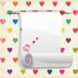 Paper blank on seamless pattern with colorful hearts. — Stock vektor
