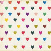 复古无缝模式与多彩的心 — 图库矢量图片