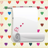 Paper blank on seamless pattern with colorful hearts. — Stockvector