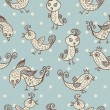 Seamless child pattern with birds on blue background — Stockvectorbeeld