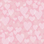 Retro seamless pattern with hearts on pink background — Stock Vector