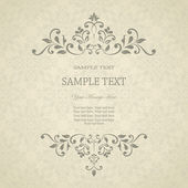 Invitation card with floral pattern on damask background. eps10 — Stok Vektör