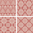 Set of Red vintage seamless pattern for gift wrapping — Stock Vector