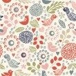 Seamless floral pattern with birds — Stock Vector #35917083