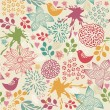 Seamless colorful floral pattern with birds  — Stock Vector