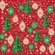 Seamless pattern with balls and christmas trees  — Stok Vektör