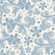 Seamless floral pattern in blue  — Imagen vectorial