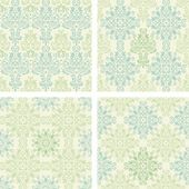 Set of seamless colorful damask patterns in blue and green color — Stock Vector