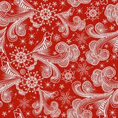 Seamless winter pattern with white snowflakes on red background — Vector de stock
