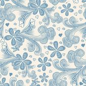 Seamless floral pattern in blue — Stock Vector