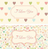Set of retro cute hearts pattern with a vintage frame for your l — Stock Vector