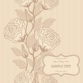 Wedding card or invitation with vertical seamless roses pattern — Stock Vector