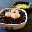 Black rice with shrimp and chickpeas cream — Foto Stock
