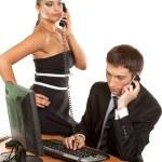 Business team pretty businesswoman holding phone — Stock Photo