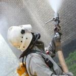 Fireman spraying water — Stock Photo #17691811