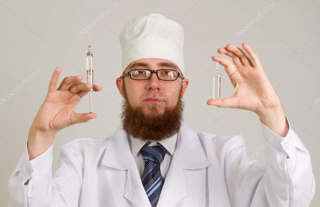 Closeup portrait  doctor isolated on a gray background — Stock Photo #18466661