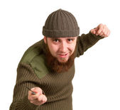 Bearded man with a knife on a white — Stock Photo