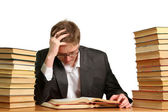 Bored and Tired Student after hard work Isolated on the White — Stock Photo