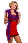 Mooie jonge vrouw met glas champagne geïsoleerd — Stockfoto