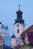 Evening view of the domes of the two churches in Uzhhorod — Stock Photo